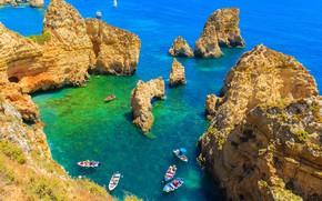 Картинка пейзаж, природа, океан, скалы, лодки, Португалия, Ponta da Piedade
