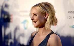 Картинка взгляд, фон, макияж, актриса, блондинка, фотосессия, hair, look, blonde, actress, makeup, Кристен Белл, Kristen Bell