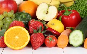 Картинка лимон, apple, яблоко, апельсин, клубника, виноград, перец, фрукты, grape, orange, strawberry