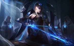 Картинка Свет, Лук, Храм, Splash, Championship, League of Legends, Ashe, LoL, Стрела, Artwork, Лига Легенд, Worlds, …