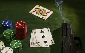 Картинка карты, пистолет, фишки, gun, chips, cards, Patxi Pérez, stickman, крупье