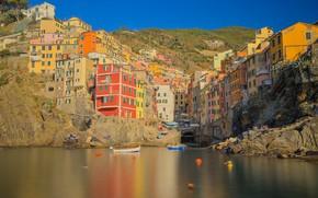 Картинка скалы, дома, Италия, Риомаджоре