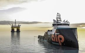 Картинка Океан, Море, Судно, Future, Рендеринг, Платформа, Vessel, AHTS, Offshore, Anchor Handling Tug Supply, Offshore Supply …