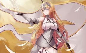 Картинка девушка, фон, флаг, арт, Fate/Apocrypha, Fate - Apocrypha, Joan of Arc, Судьба Апокриф
