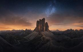 Картинка небо, звезды, горы, ночь, скалы, Доломитовые Альпы