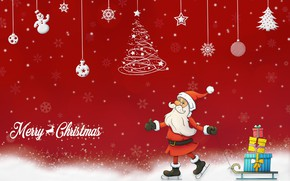 Картинка шарики, снег, снежинки, праздник, надпись, рисунок, графика, вектор, Рождество, подарки, Новый год, сани, Санта Клаус, …