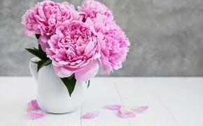 Картинка цветы, розовые, wood, pink, flowers, пионы, peonies
