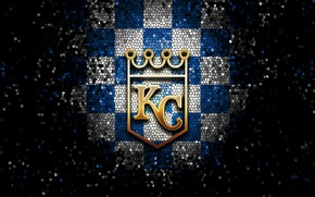 Картинка wallpaper, sport, logo, baseball, glitter, checkered, MLB, Kansas City Royals