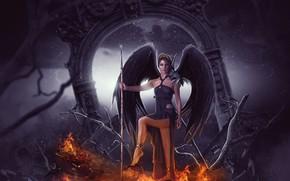 Картинка девушка, огонь, ангел, фэнтези, ангел смерти, фотоарт