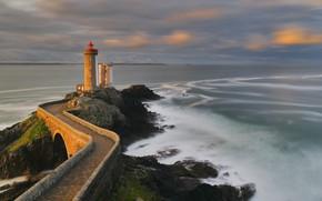 Картинка побережье, Франция, маяк, Brittany Coast