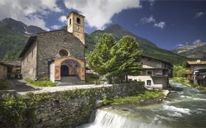 Картинка горы, Италия, речка, часовня