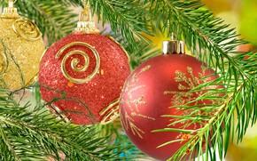 Картинка шары, игрушки, елка, красные, Новый год