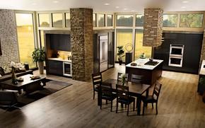 Картинка интерьер, кухня, гостиная, столовая, East coast, contemporary house