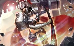 Картинка девушка, игра, доспехи, шлем, рыцарь, King of Glory, Король славы