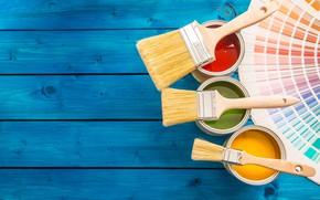 Картинка colors, wood, paint, paint buckets