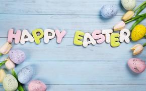Картинка цветы, яйца, Пасха, happy, flowers, tulips, eggs, easter, cookies, decoration