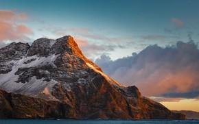 Картинка море, небо, облака, закат, горы, природа, скалы