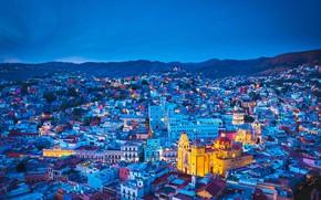 Картинка дома, Мексика, панорама, собор, Гуанахуато