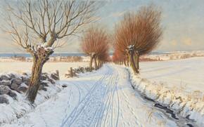 Картинка шведский художник, Swedish painter, oil on canvas, Peter Adolf Persson, Заснеженная аллея, Snow covered alley, …