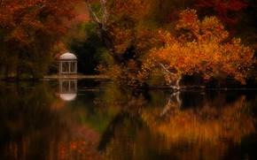 Картинка осень, деревья, пейзаж, природа, пруд, парк, беседка