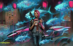 Картинка girl, rpg, video game, night city, CD Projekt RED, Cyberpunk 2077, Cyberpunk, redhair