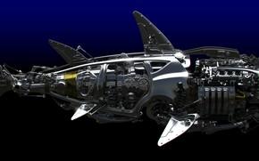 Картинка акула, Металл, Детали