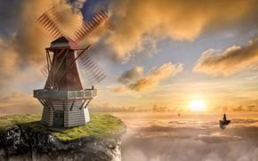 Картинка небо, облака, закат, рендеринг, фантастика, сюрреализм, романтика, арт, двое, солнечные лучи, ветряные мельницы, небесные острова