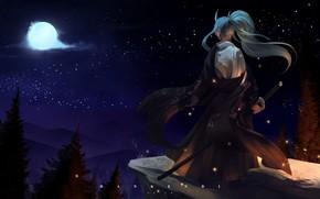 Картинка одиночество, демон, полнолуние, katana, рогатый, samurai, мечи в руках, на скале, by Dan Kendi