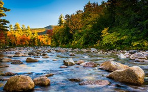 Картинка USA, forest, river, sky, trees, landscape, nature, water, mountains, rocks, stones, fall, New Hampshire, White …