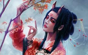 Картинка взгляд, дерево, япония, фэнтези, арт, рога, кимоно, демоница, рожки