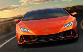 Картинка Lamborghini, суперкар, вид спереди, Evo, Huracan, 2019, Lamborghini Huracan Evo