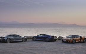 Картинка закат, побережье, McLaren, вечер, суперкары, 2019, McLaren GT
