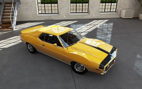 Картинка Car, Classic, Coupe, Yellow, Muscle car, AMX, AMC Javelin