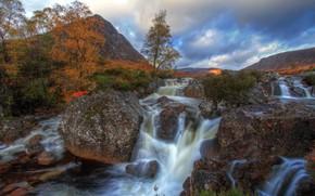 Картинка осень, пейзаж, природа, река, камни, водопад, вулкан, долина, Шотландия, Хайленд, Гленко