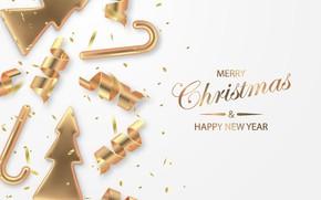 Картинка фон, праздник, игрушки, Новый год, надпись золотом
