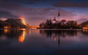 Картинка небо, закат, горы, озеро, вечер, церковь, Словения, Slovenia, фотограф Alexandr Kukrinov