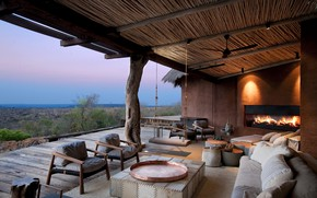 Картинка мебель, камин, терраса, South Africa, lodge Leobo