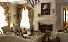 Картинка дизайн, уют, стиль, интерьер, камин, гостиная