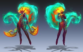 Картинка девушки, пламя, магия, тень, существо, фЭнтези