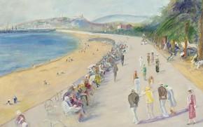 Картинка картина, городской пейзаж, Люсьен Адрион, Lucien Adrion, Круазетт. Канны