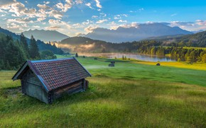 Картинка пейзаж, горы, природа, туман, озеро, рассвет, дома, утро, Германия, Бавария, Альпы, леса, луга, Geroldsee