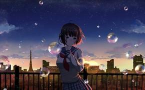 Картинка город, мыльные пузыри, девочка