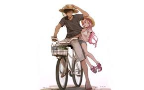 Картинка девушка, велосипед, парень, Баскетбол Куроко, Kuroko no Baske, Аомине Дайки, Момой
