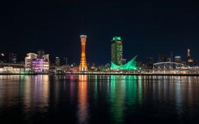 Картинка ночь, огни, здания, дома, залив, Japan, набережная, Kobe, Harborland