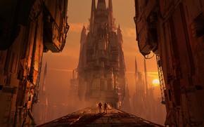Картинка мост, фантастика, планета, сооружение, арт, sci-fi