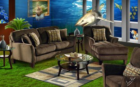 Картинка рыбы, мебель, интерьер, акула, creative art
