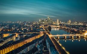 Картинка город, огни, вечер, Германия, Франкфурт-на-Майне