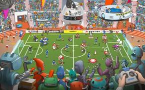 Обои Зрители, Стадион, Поле, Football, Футбол, Фантастика, Football & Robots, Действия, Киборги, Люди, Max Degtyarev, Degtyarev, ...