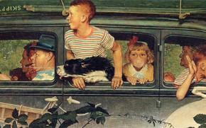 Обои машина, собака, поездка, Иллюстрация, взрослые и дети, Норман Роквелл