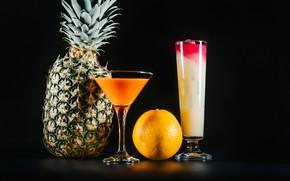 Картинка апельсин, бокалы, сок, коктейль, фрукты, ананас, черный фон